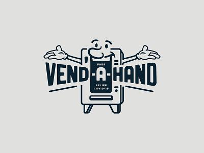 vend•a•hand charity covid-19 covid19 face smile machine soda chips vending machine vending design illustration