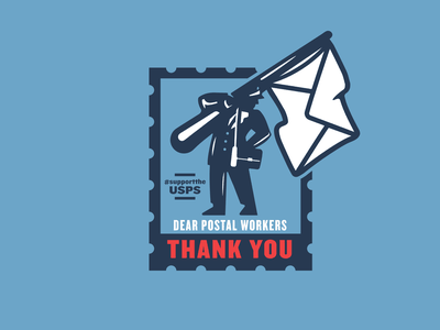 Postal Worker Thank You 1 thank you man flag stamp postal post office letter
