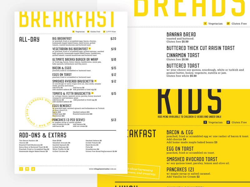 Village Lane Menu Design graphic design typography branding design