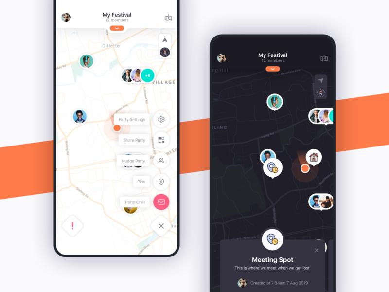 SearchParty App Interface flat app ux ui design