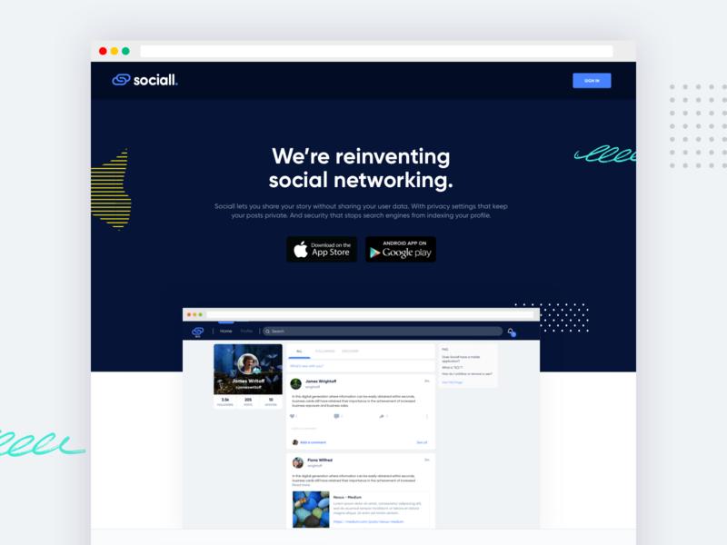 Sociall - Web & App Design / Development app minimal website branding ux ui flat design