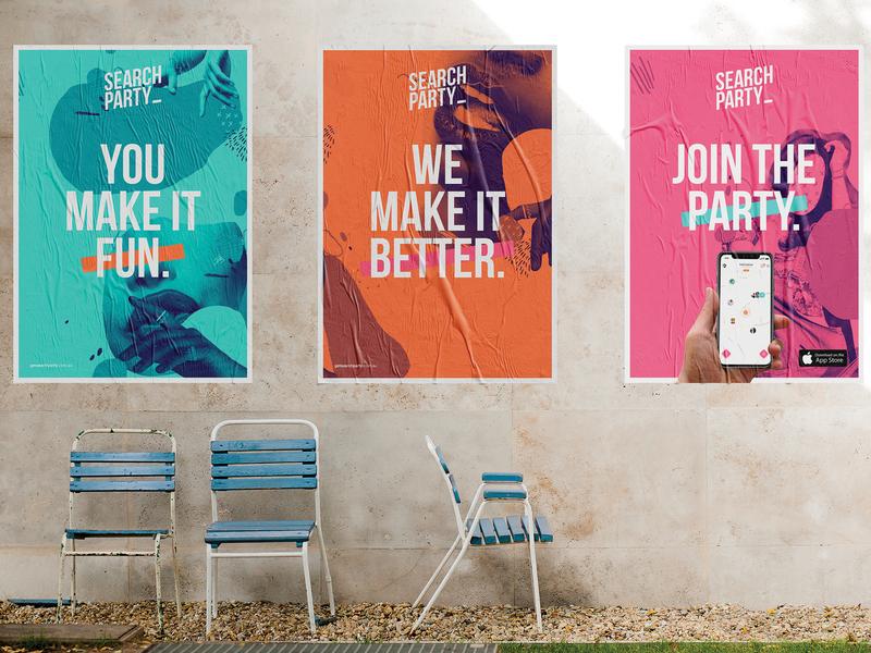 SearchParty Poster Series typography logo illustration branding design