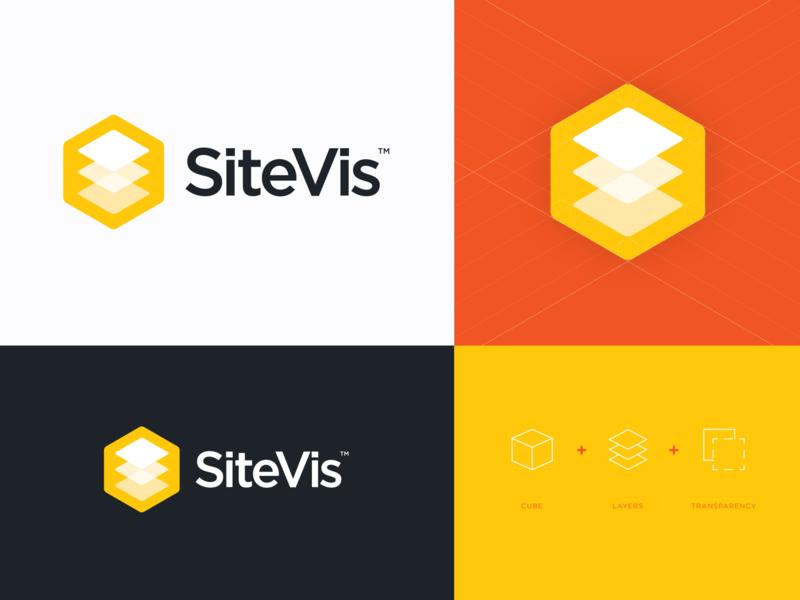 SiteVis Logo Concept lettering vector flat icon typography logo app design branding brand