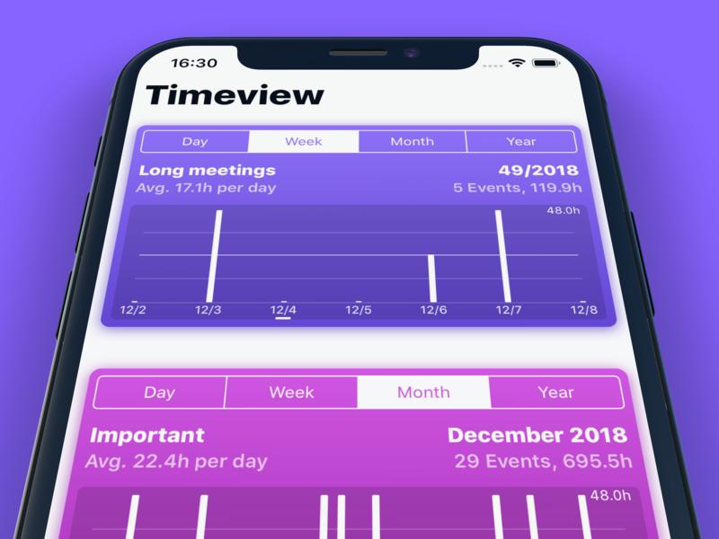Timeview Icon chart statistics calendar design app ui ios iphone