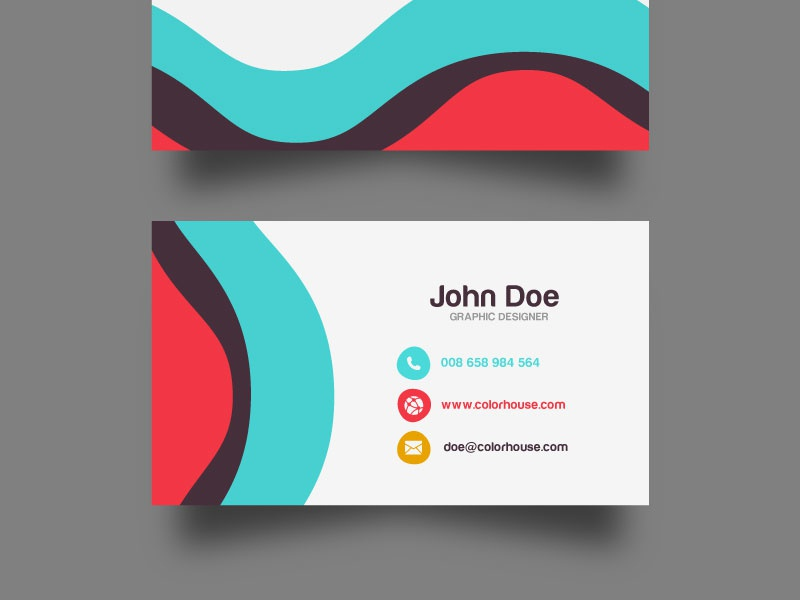 Flat Business Card Template (Free Download) stationery print design vector visit card template business card download free