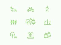 Into the woods park bike carrots dog fountain trees icon line