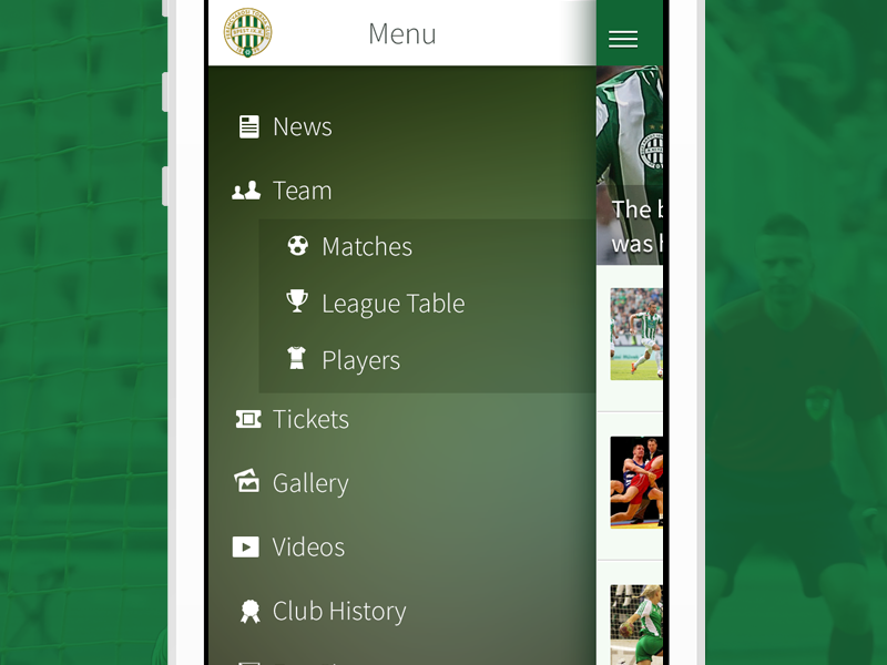 Football team app menu  by Zoltán Garami on Dribbble