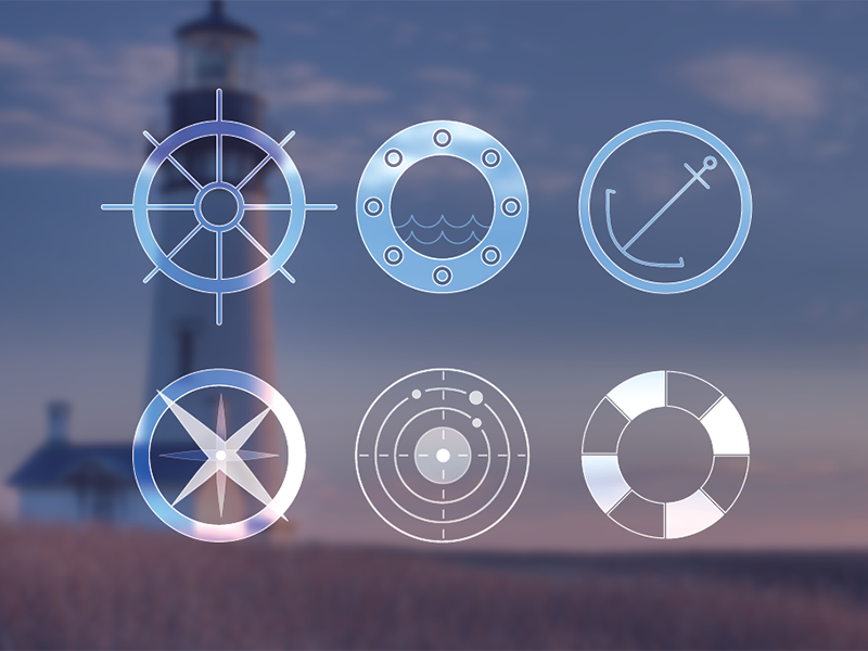 Nautical Vectors - F R E E B I E vector free freebie nautical icons sea anchor helm radar compass
