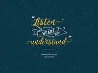 Listen with your heart, you will understand...