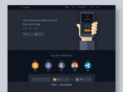 CryptoCurrency landing page design