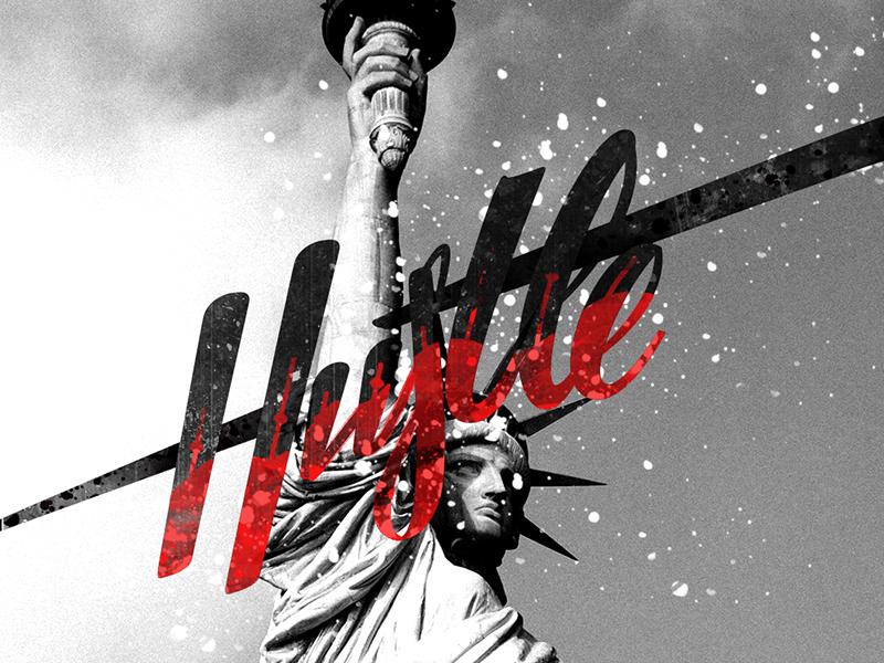 Hustle font handmade create texture photo quote illustration vector lettering letter type hustle