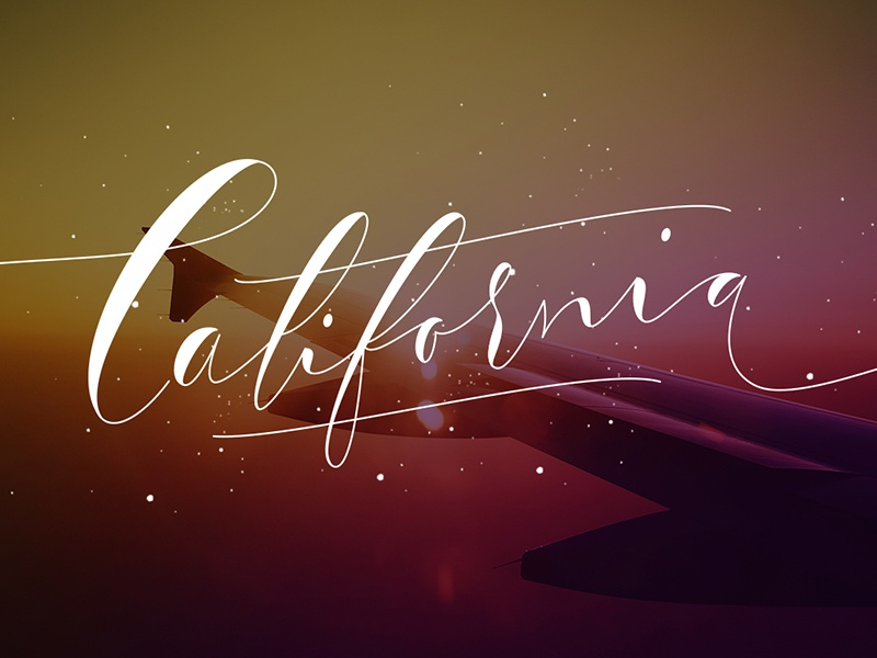 California caligraphy design illustration lettering letter type