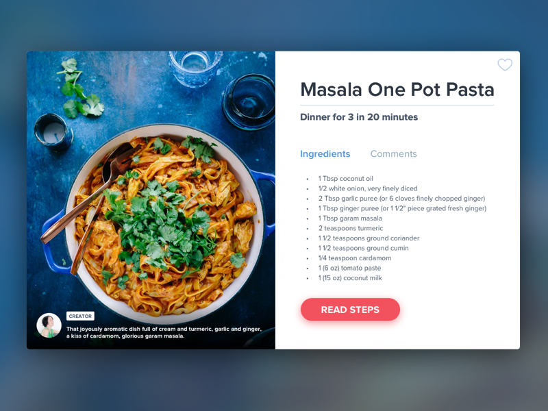 Day 009 - Recipe Card pasta malasa recipe ui ux daily ui clean ui elements daily 100