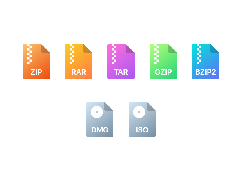 Archiver File Type Icons For Keka set osx type gradient icons keka