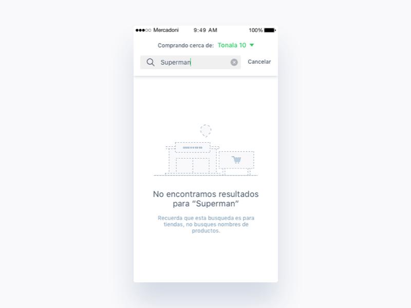 Mercadoni Retailers No Result iOS no result retailer ux ui ios mercadoni clean app
