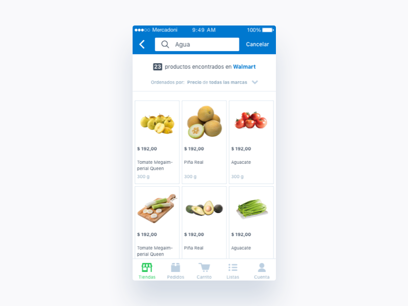 Mercadoni Search Product Results iOS product retailer results ux ui ios mercadoni clean app