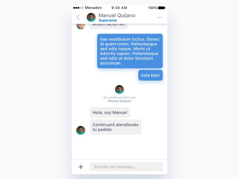 Mercadoni Chat - New Shopper iOS bubble chat shopper ux ui ios mercadoni clean app