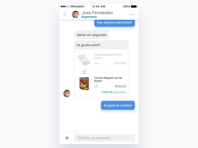 Mercadoni Chat - Change (Accepted) iOS bubbles chat ux ui ios mercadoni clean app