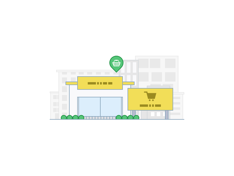 Store Locations Mercadoni city super market clean lines mercadoni retailer illustration