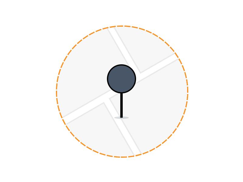 Delimited Area Mercadoni area map marker clean lines mercadoni retailer illustration