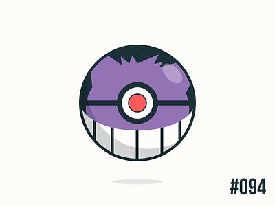 Pokéballday #094 Gengar Ball gengar pokéballday pokeballday nintendo vector illustrator clean pokéball pokeball pokémon pokemon