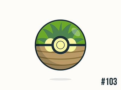Pokéballday #103 Exeggutor Ball exeggutor pokéballday pokeballday nintendo vector illustrator clean pokéball pokeball pokémon pokemon