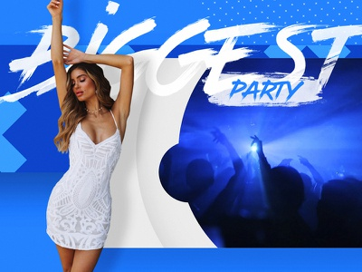 Biggest Party summer slideshow template promo trendy graphic design blue sexy girl flyer party