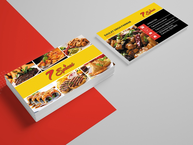 7 Spices Restaurant Card Design card business card template business cards business card branding business card design illustration design company card design advertisement