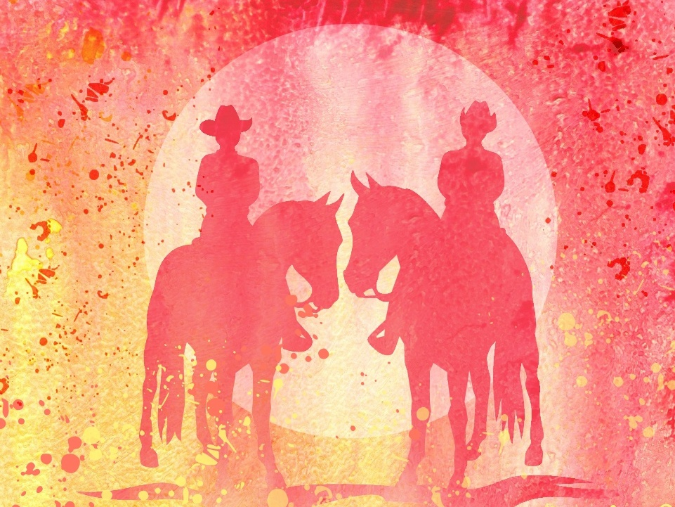 Couple Riding Horses Warm Watercolor cowboys western illustration animal horse equestrian equine