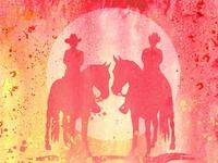 Couple Riding Horses Warm Watercolor