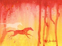 Two Horses Running Warm Watercolor
