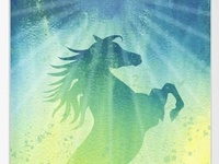 Spirited Horse Rearing into the Light. Watercolor dream.