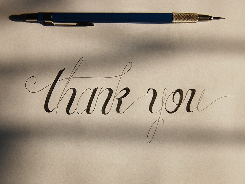 Thank you hand lettering lettering penciling thank you thanks sketching debut shot