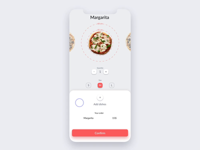 Food ordering app red animation ios pizza