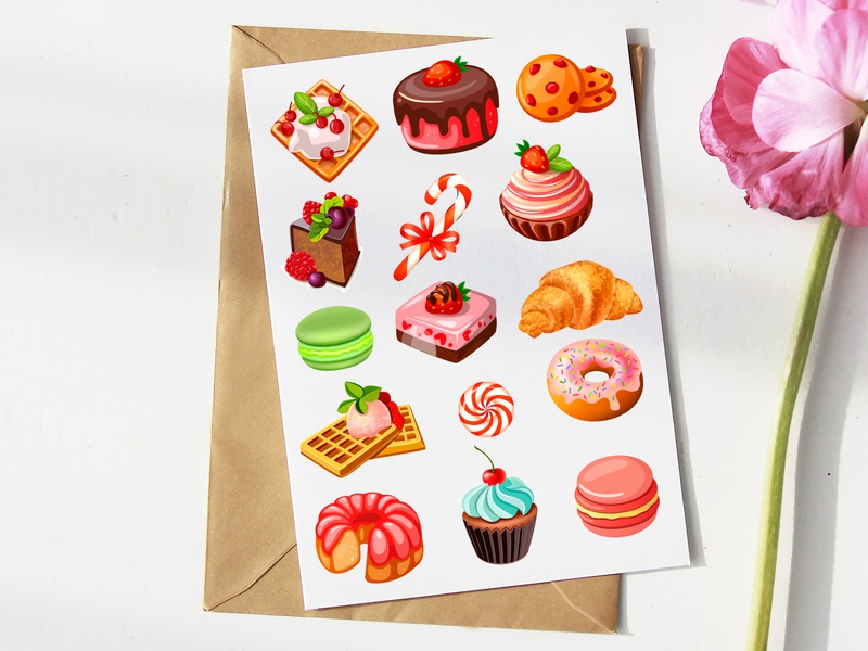 sweets stikers illustrator illustration design art web typography design vector illustration