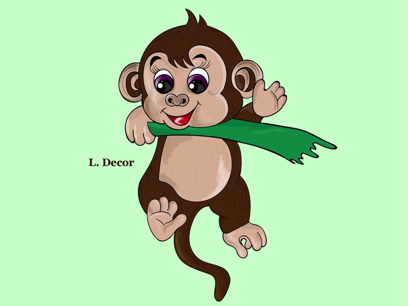 Monkey animation web vector illustration