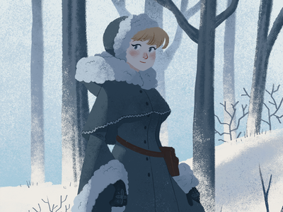 Winter Lady lady wizard dungeons and dragons snow winter forest nature illustration fantasy