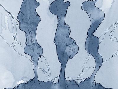 Night Shift III abstract art landscape design retro vector sketch doodle scribbles