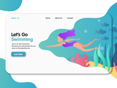 Swimming Landing Page fish sea swimming illustration ux ui