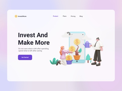 InvestMore - Invest Landing Page invest website landing page ux ui 3d