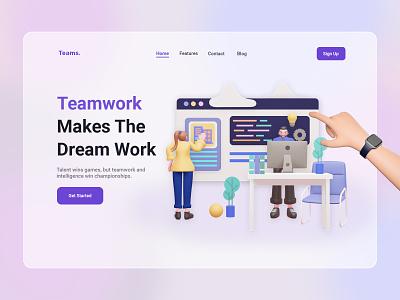 Teams. - Teamwork Landing Page teamwork web website 3d ux ui