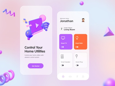 Home App - Control Your Home Utilities 3d app home homeapp ux ui