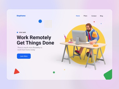 Stay Home Work Remotely Landing Page work remotely staysafe stayhome landing page coronavirus covid19 design ux 3d ui