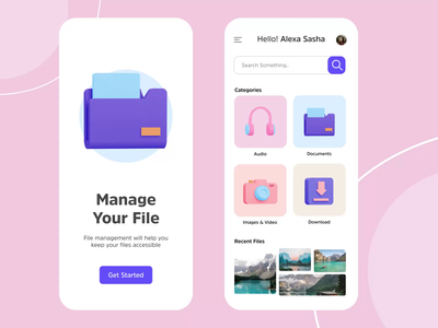 File Manager App - Motion Interaction file motiongraphics motion 3d app ux ui file manager