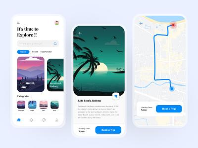 Travel App - It's time to Explore illustraion indonesia bali map uiux ui travelapp app travel