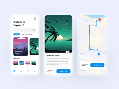 Travel App UI Interaction animation interaction trip traveling travel app travel indonesia design bali illustration app ui ux