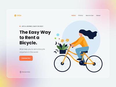 Bike Rent Landing Page illustration website landing page bike ux ui