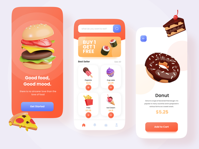 Food App - Good Food Good Mood foodapp food illustration 3d app ux ui
