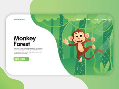 Monkey Forest Landing Page illustrator illustration website flat web app icon ux ui