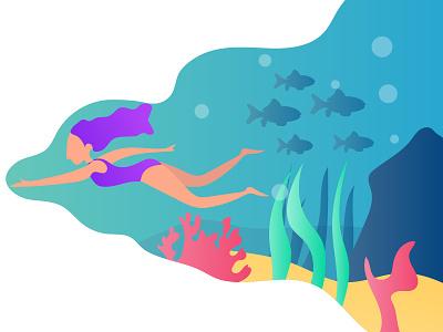 Swimming vector sea swimming design illustration